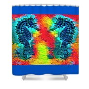 Underwater Rainbow Seahorses Shower Curtain