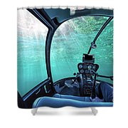 Underwater Ship Blue Ocean Shower Curtain