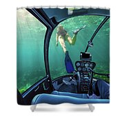 Underwater Ship In Coral Reef Shower Curtain
