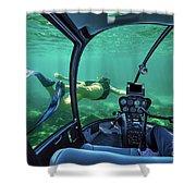 Underwater Submarine Woman Shower Curtain