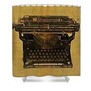 Underwood Typewriter On Text Shower Curtain