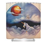 Unicorn In The Clouds Shower Curtain
