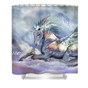 Unicorn Of Peace Card Shower Curtain