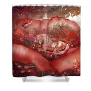 Unicorn Of The Poppies Shower Curtain