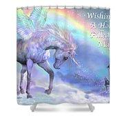 Unicorn Of The Rainbow Card Shower Curtain