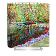 Unicorn Stream - Use Red-cyan 3d Glasses Shower Curtain