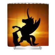 Winged Unicorn Sentinel  Shower Curtain