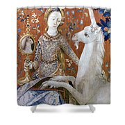 Unicorn Tapestry, 15th C Shower Curtain