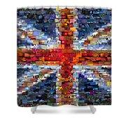 Union Jack Flag Mosaic Shower Curtain