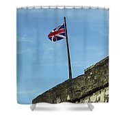 Union Jack Over The Castillo Shower Curtain