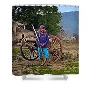 Union Soldier With Cannon Shower Curtain