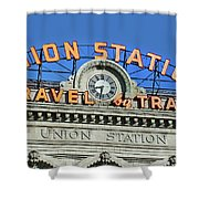 Union Station Sign Shower Curtain