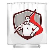Union Worker Holding Flag Crest Retro Shower Curtain