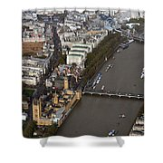 Unique And Rare Aerial View Of Iconic City Of London Shower Curtain