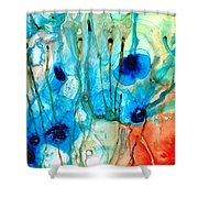Unique Art - A Touch Of Red - Sharon Cummings Shower Curtain