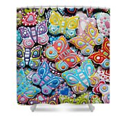 Unique Colorful Honey Cookies , Butterfly Shaped  Shower Curtain
