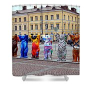 United Buddy Bear Statues At Helsinkis Senate Square Shower Curtain