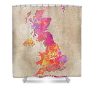 United Kingdom Map Shower Curtain