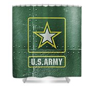 United States Army Logo On Green Steel Tank Shower Curtain
