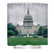 United States Capitol Building On A Foggy Day Shower Curtain