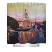 United States Capitol In Washington D.c. At Sunset Shower Curtain