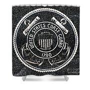 United States Coast Guard Emblem Polished Granite Shower Curtain