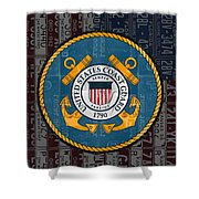 United States Coast Guard Logo Recycled Vintage License Plate Art Shower Curtain