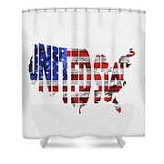 United States Typographic Map Flag Shower Curtain