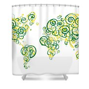 University Of Alberta Colors Swirl Map Of The World Atlas Shower Curtain