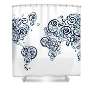 University Of British Colombia Colors Swirl Map Of The World Atl Shower Curtain