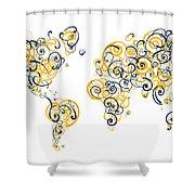 University Of California Berkeley Colors Swirl Map Of The World  Shower Curtain