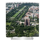 University Of Chicago Booth School Of Business And Midway Plaisance Park Aerial Photo Shower Curtain