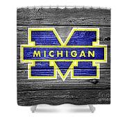 University Of Michigan Wolverines Logo On Weathered Wood Shower Curtain