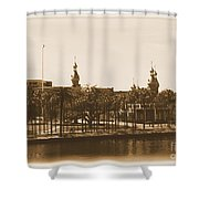 University Of Tampa - Old Postcard Framing Shower Curtain