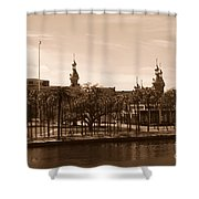 University Of Tampa With River - Sepia Shower Curtain
