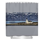 Unjarga-nesseby Church In Arctic Norway Shower Curtain