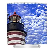 Unmistakable In Any Weather - West Quoddy Head Lighthouse Shower Curtain