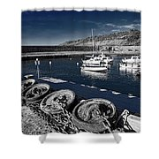 Unplugged At The Harbour - Toned Shower Curtain