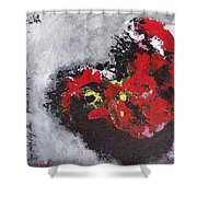 Unread Poem Black And Red Paintings Shower Curtain