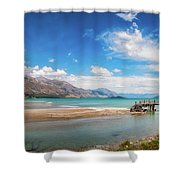 Unspoiled Alpine Scenery In Kinloch Wharf, New Zealand Shower Curtain