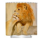 Lions In Love Shower Curtain