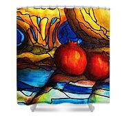 Still Life With Grapes And Pomegranates Shower Curtain
