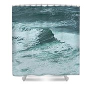 Unusual Green Wave Vertical Shower Curtain