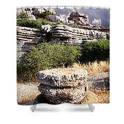 Unusual Rock Formations In The El Torcal Mountains Near Antequera Spain Shower Curtain