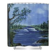 Landscape With Waterfall Shower Curtain