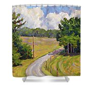 Up Orchard Lane Shower Curtain