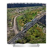 Up Tracks Cross The Mojave River Shower Curtain by Jim Thompson