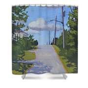 Uphill - Art By Bill Tomsa Shower Curtain
