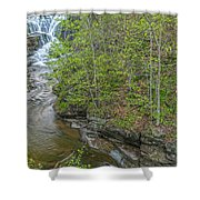 Upper And Middle Falls At Mine Kill State Park Shower Curtain