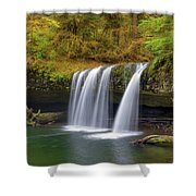 Upper Butte Creek Falls In Autumn Shower Curtain